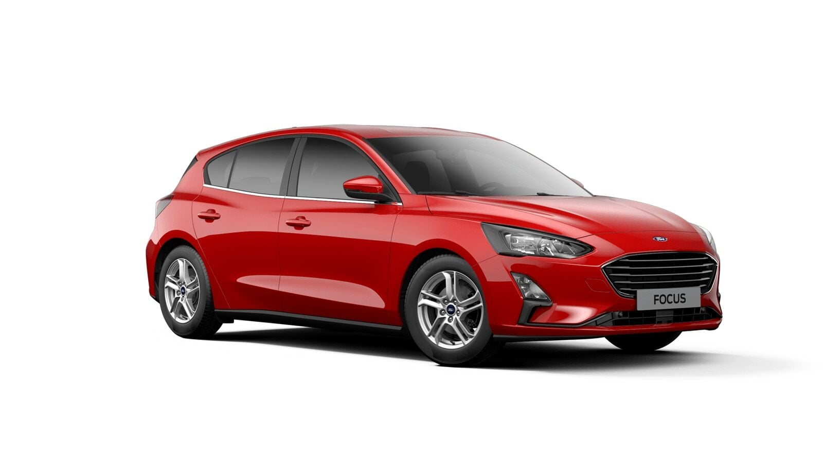 Red Ford Focus Business from 3/4 front angle