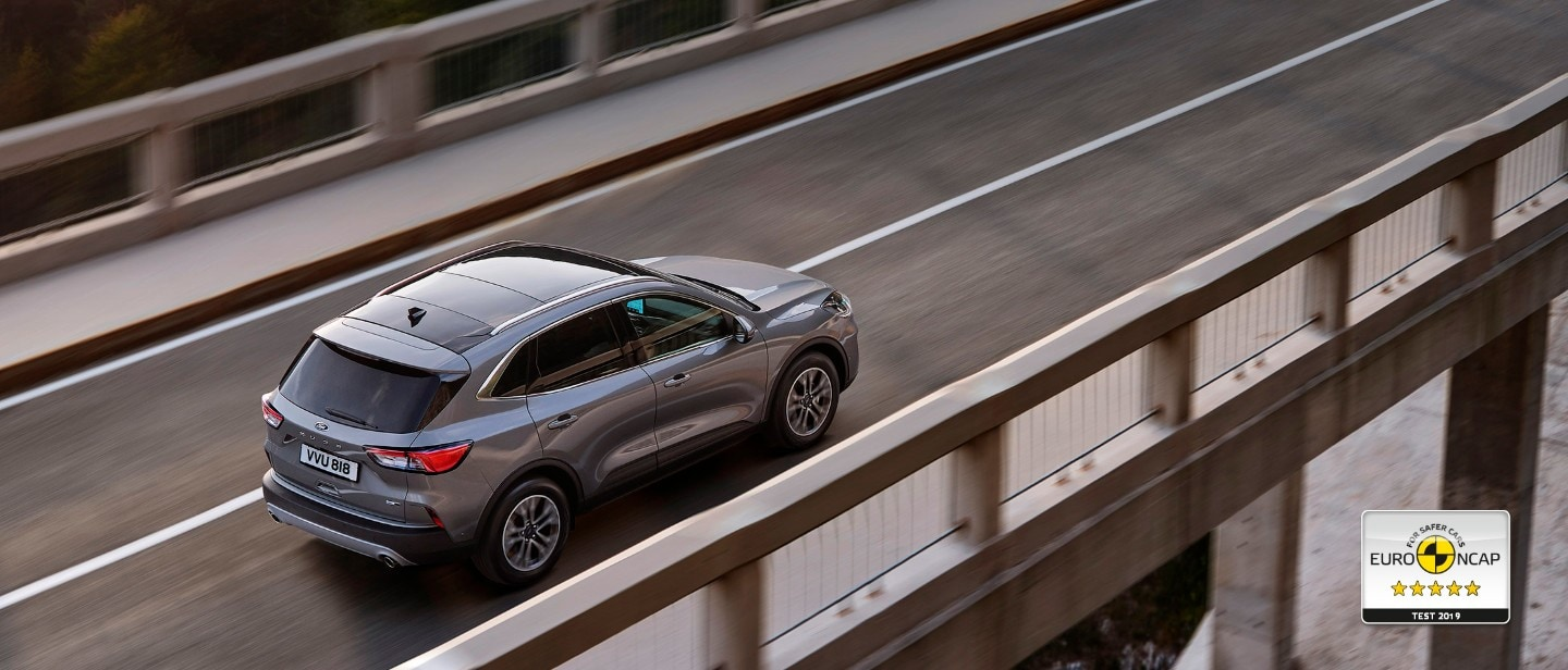 Ford Kuga overhead view driving on bridge