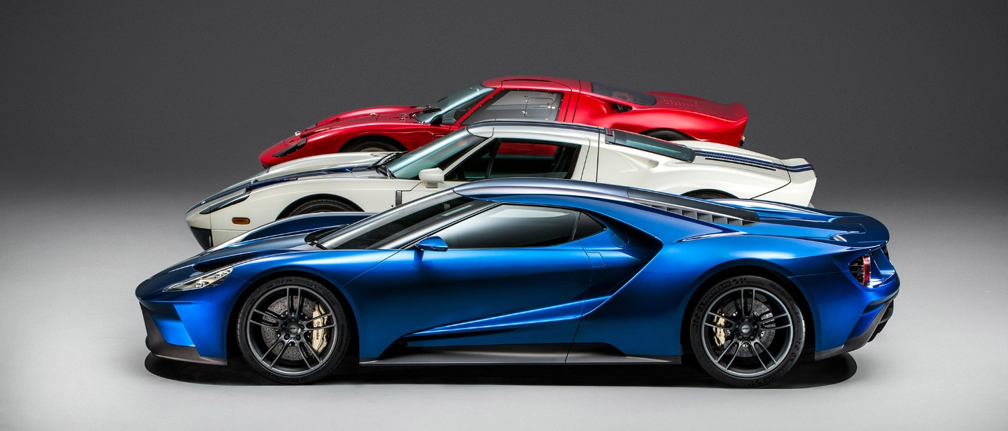 Ford GT generations blue 2016 model, white and red models